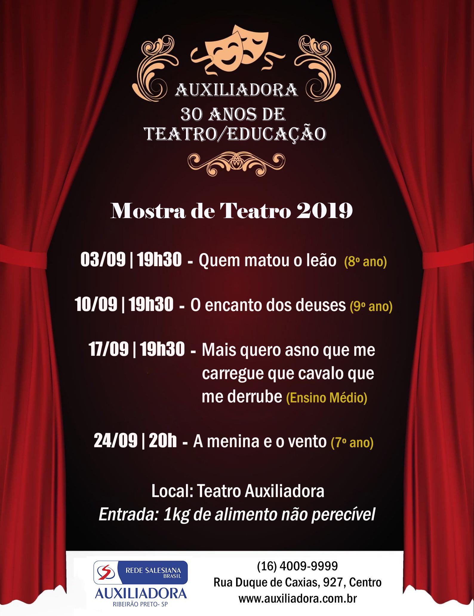 Tradicional Mostra de Teatro do Auxiliadora começa na próxima terça-feira