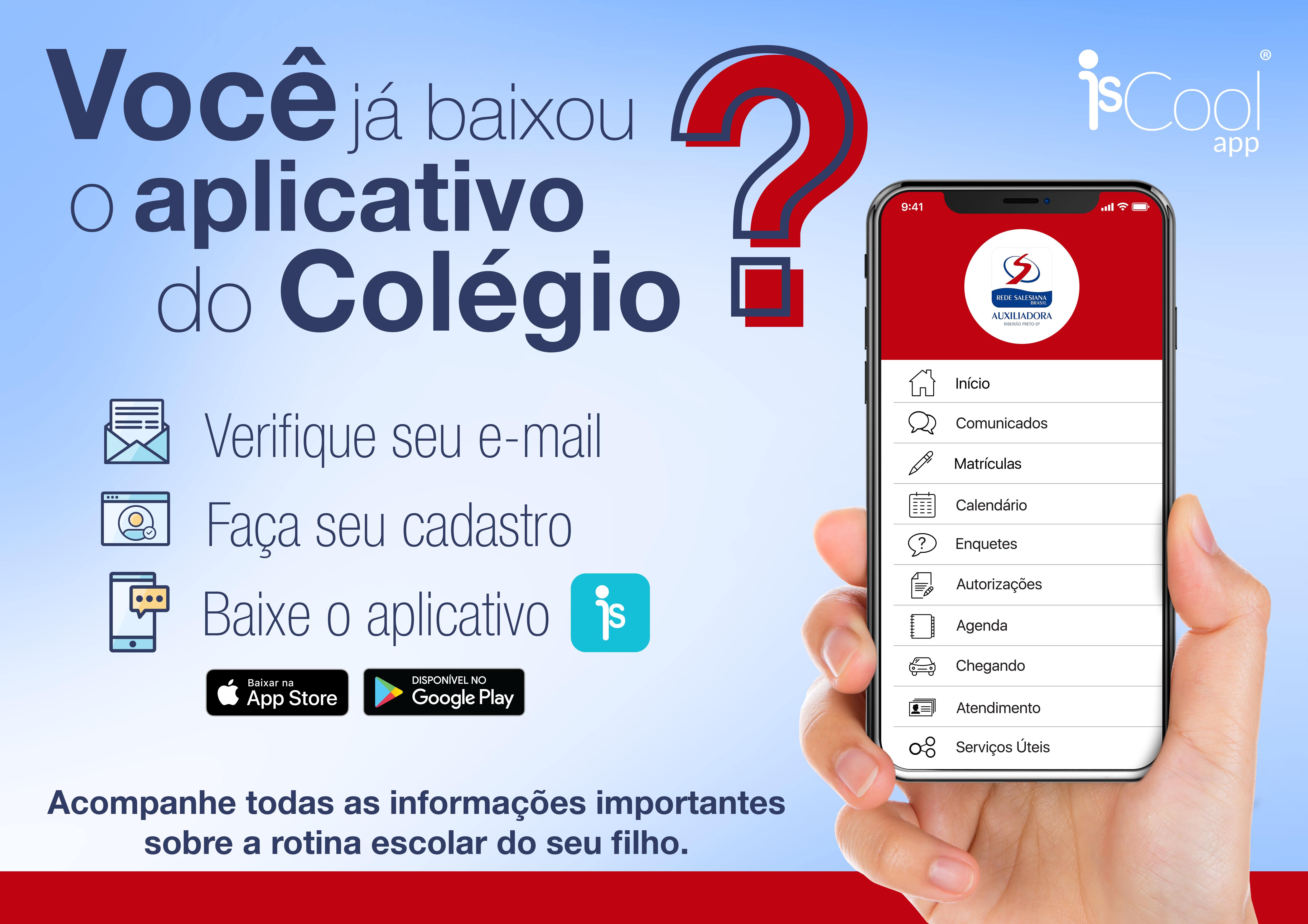 Baixe o app IsCool e acompanhe a vida escolar do seu filho