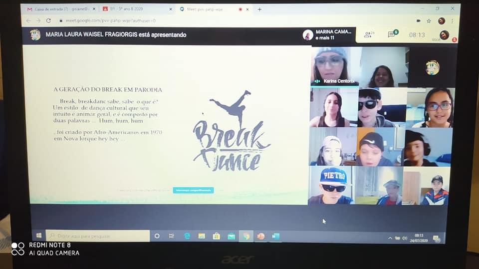 Rap e Break são temas de aula on-line no 5º ano
