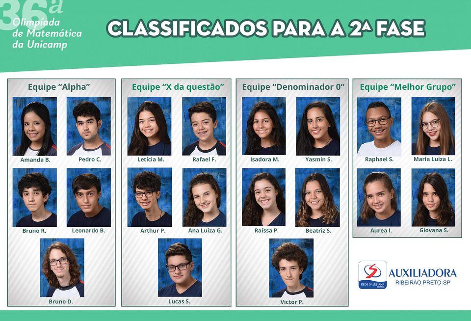 Dezenove alunos avançam para a 2ª fase da OMU